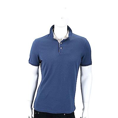BRUNELLO CUCINELLI 雙色拼接藍灰短袖棉質POLO衫