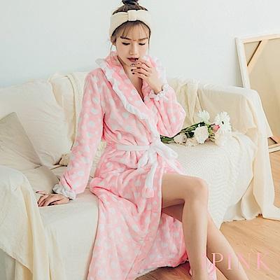i PINK 寵愛公主 法蘭絨荷葉邊長版綁帶睡袍(粉底白心)