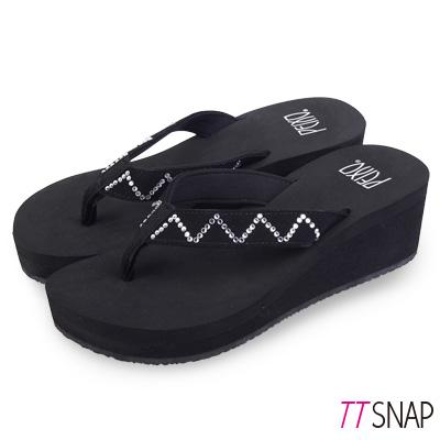 TTSNAP拖鞋-MIT修長顯瘦W型夾腳中跟涼拖 黑