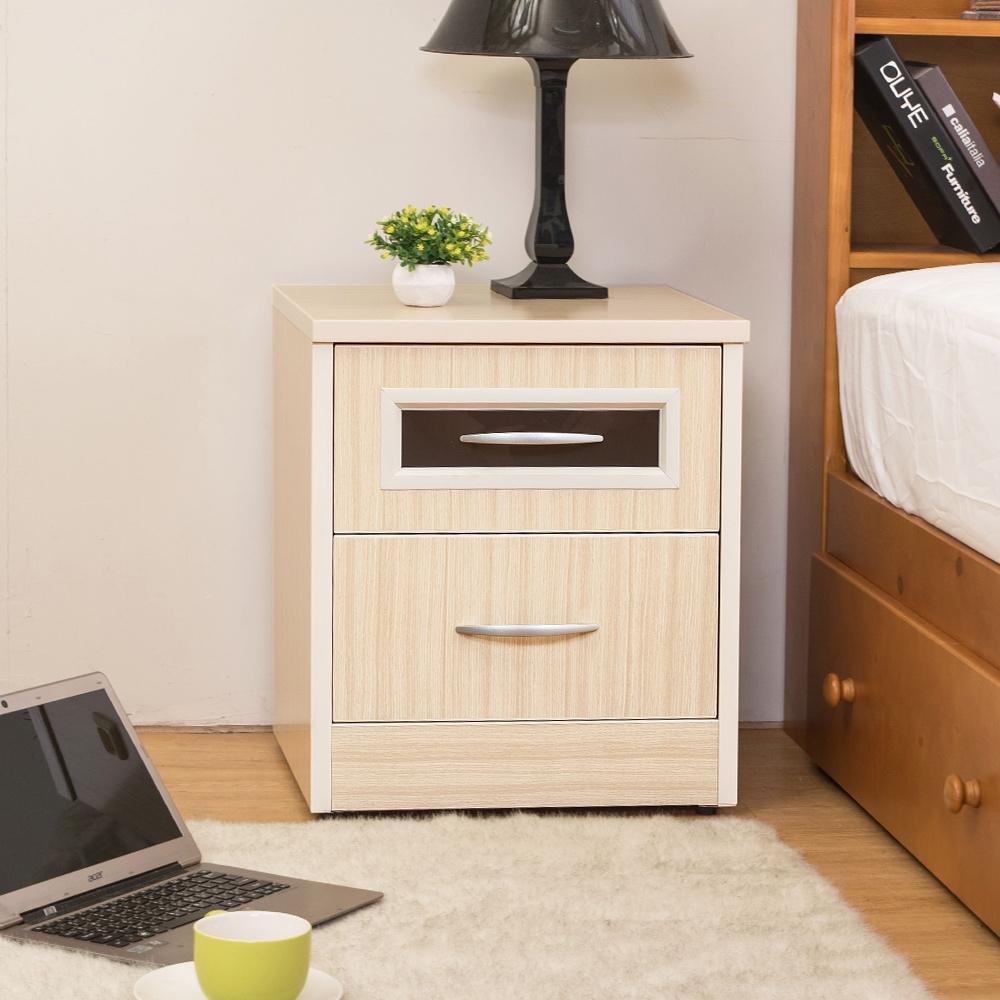 Birdie南亞塑鋼-1.7尺二抽塑鋼床頭櫃/抽屜收納櫃/置物櫃(白橡色)-51x41x56cm
