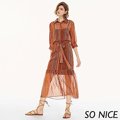 SO NICE夏日甜美雪紡長洋裝