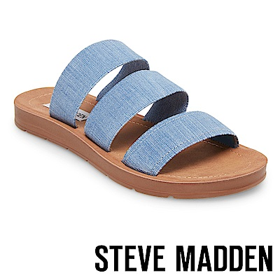 STEVE MADDEN-PASCALE 涼夏束帶平底涼鞋-藍色