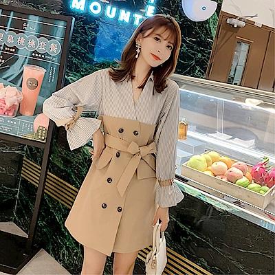 DABI 韓系假兩件拼接襯衫蝴蝶結喇叭袖長袖洋裝