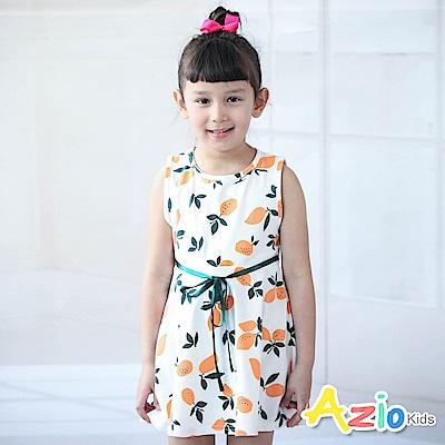 Azio Kids 洋裝 滿版檸檬印花緞帶綁帶無袖洋裝(橘)
