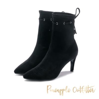 Pineapple Outfitter 獨創心機繫帶 素面尖頭高跟襪靴-黑色