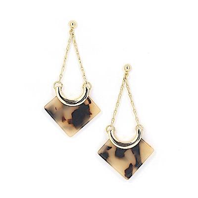 LOVERS TEMPO加拿大品牌 琥珀紋天秤吊墜 垂墜耳環