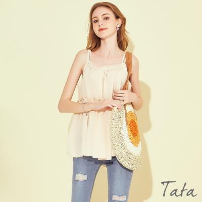 蕾絲肩帶直紋拼接背心 共二色 TATA-F