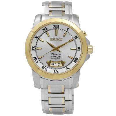 SEIKO 精工 Premier 羅馬 萬年曆 不鏽鋼腕錶-銀x金框/41mm