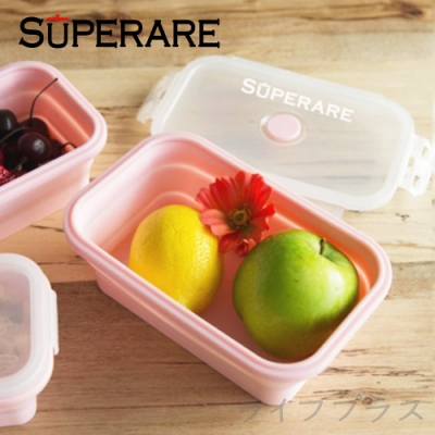 Superare 矽膠環保折疊便攜保鮮盒800ml-粉-3入組