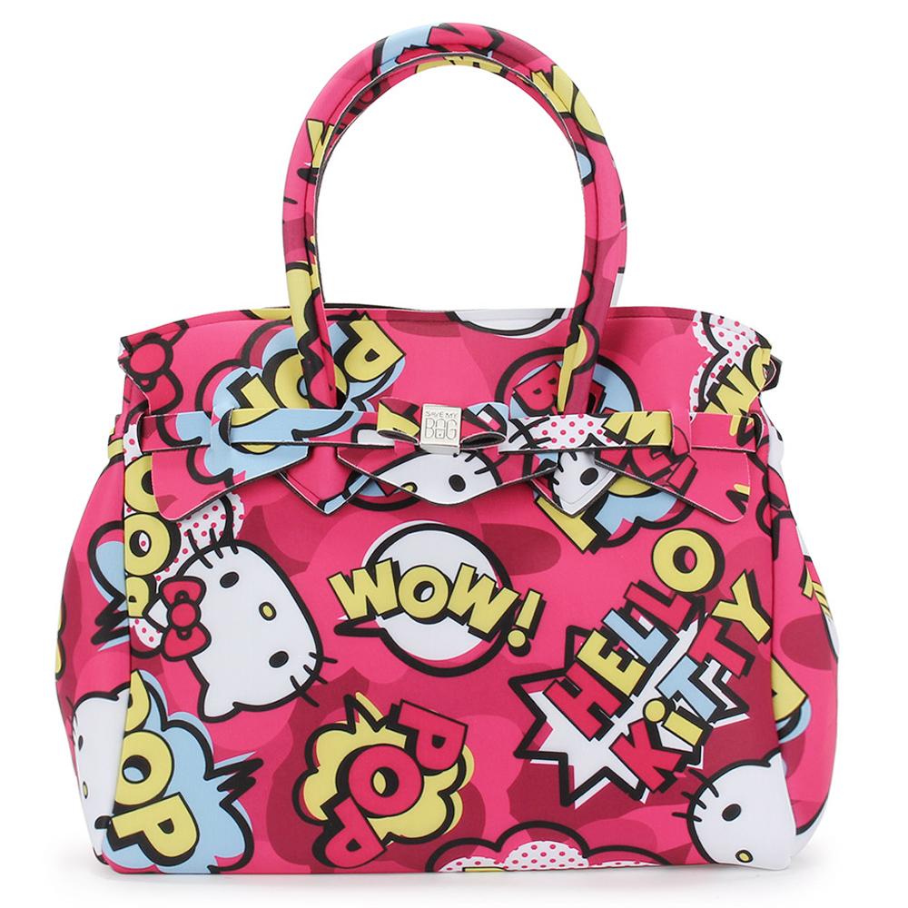 SAVE MY BAG Miss系列Hello Kitty輕量托特包-桃紅色