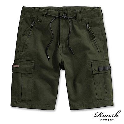 Roush 口袋銅牌設計雙拉鍊工裝短褲(3色)