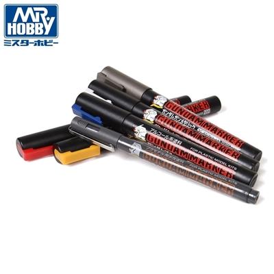 日本MR.HOBBY Gsi Creos Gundam Marker鋼彈麥克筆套組GMS-105(油性基本色+槍鐵色+水性灰色墨線筆)郡氏GUNZE上色補色筆溝線筆-日本平輸