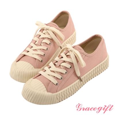 Grace gift-特殊波紋底綁帶休閒鞋 粉