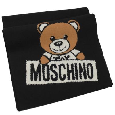 MOSCHINO 針織小熊圖樣羊毛圍巾(黑)