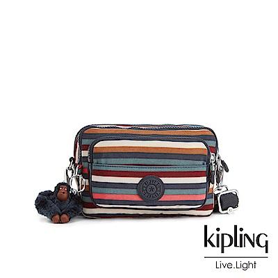 Kipling繽紛仲夏條紋兩用腰間側背包