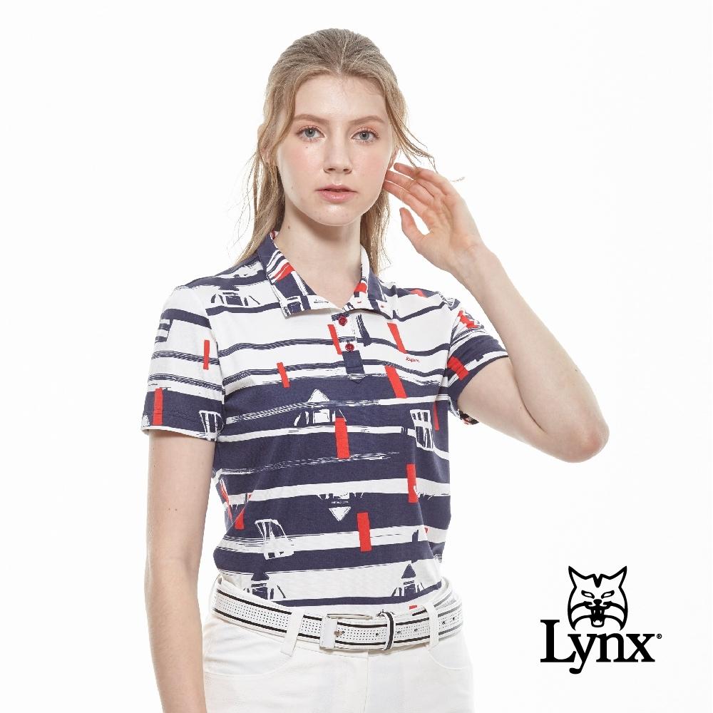 【Lynx Golf】女款進口布料藍底塗鴉條紋風格立領短袖POLO衫-深藍色