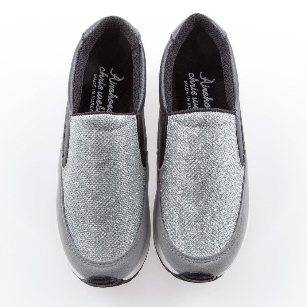 Camille's 韓國空運-正韓製-閃布懶人休閒厚底氣墊鞋-銀色