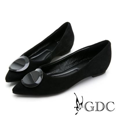 GDC-真皮尖頭歐美簡約圓釦磨砂感平底包鞋-黑色