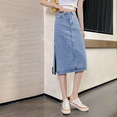 優雅時尚美腿開叉裙襬牛仔裙S-XL-WHATDAY