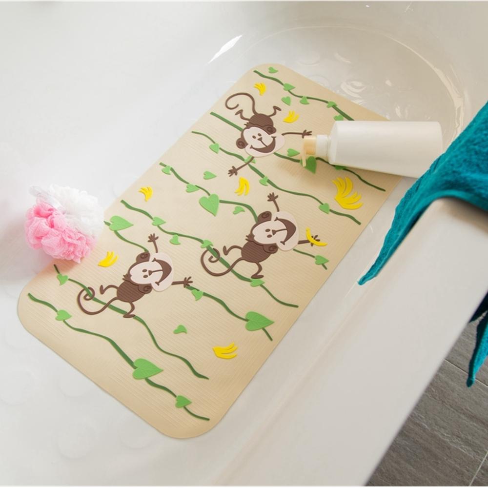 vanibaby浴室防滑墊 浴盆止滑墊  立體圖案超強吸力 香蕉小猴