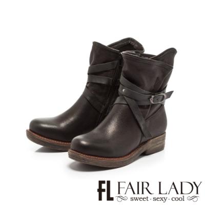 Fair Lady抓皺配色皮革交叉釦帶短靴 黑