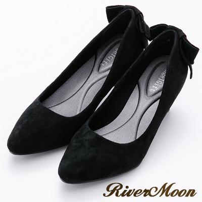 River&Moon甜美後蝴蝶結麂絨記憶鞋墊尖頭跟鞋-黑
