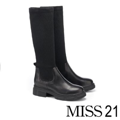 長靴 MISS 21 復古個性異材質拼接襪套式厚底長靴-黑