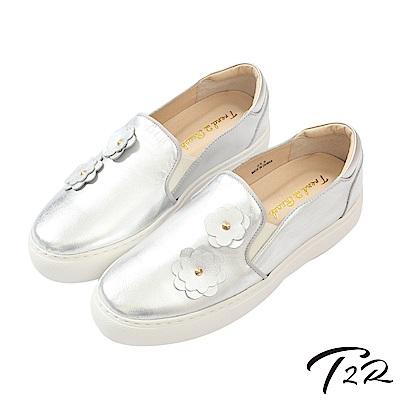 【T2R】全真皮手工立體花樣造型懶人鞋/樂福鞋-銀