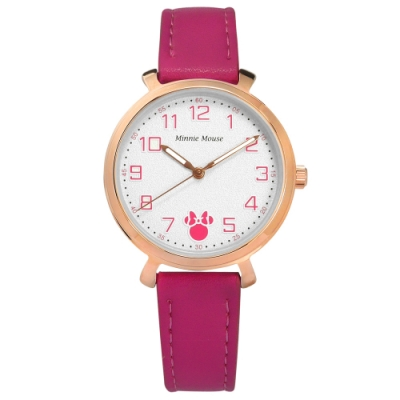 Disney 迪士尼 童趣 米妮刻度 兒童 卡通錶 真皮手錶-白x玫瑰金框x桃紅/32mm