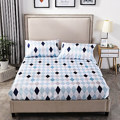 Goelia 瞬間超涼親膚天然可水洗枕套床包組-幾何空間加大