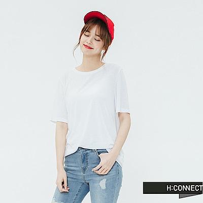 H:CONNECT 韓國品牌 女裝-素面圓領T-shirt-白
