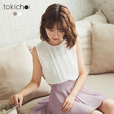 東京著衣 俏麗女孩直條裝飾上衣-S.M(共二色)