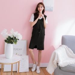 SUPER COLOR 白色英文印花Tee+V領背心洋裝套裝