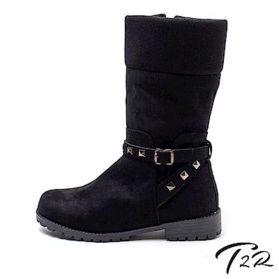 【T2R】霧面質感麂皮環扣個性造型微增高雪靴-霧面-增高5cm