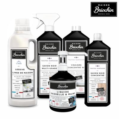 Maison Briochin 黑牌碧歐馨 五件組-天然柔嫩洗衣精+多功能黑皂液+多效清潔醋+濃縮黑皂液+護手洗碗精