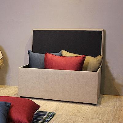 Asllie貝琪掀蓋收納長椅/腳凳/床前椅/沙發椅凳(貓抓皮)-灰色