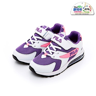 FILA KIDS 大童MD氣墊慢跑鞋-白紫 3-J406T-159