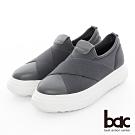 【bac】加州陽光 - 厚底台大交叉彈性織帶運動風休閒鞋-灰