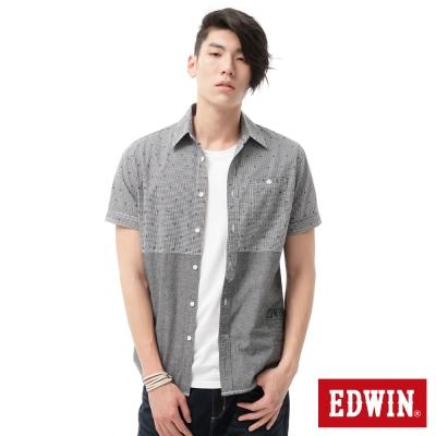EDWIN 襯衫 剪接配色短袖襯衫-男-黑色