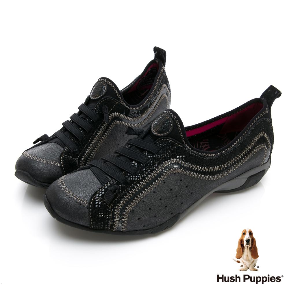 Hush Puppies QUALIFY 熱銷彈力休閒女鞋-幻黑
