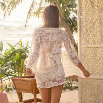 La Belleza玫瑰花朵葉子鏤空接紗蕾絲透視罩衫外套