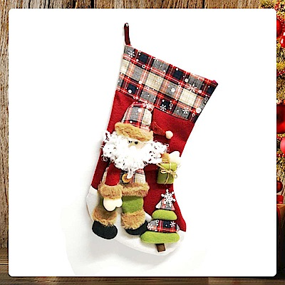 摩達客 18吋蘇格蘭格紋聖誕襪-聖誕老公公款YS-SC160017