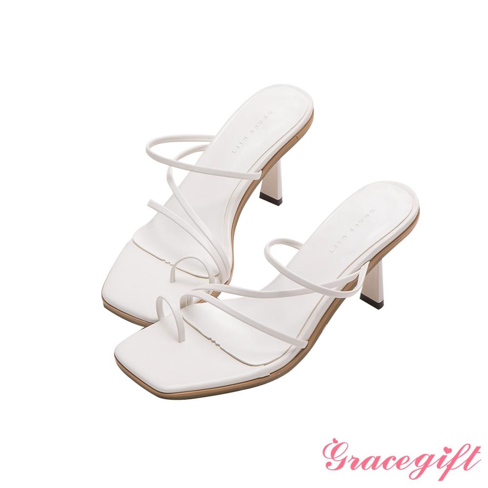 Grace gift-Z字細帶套趾中跟涼拖鞋 白