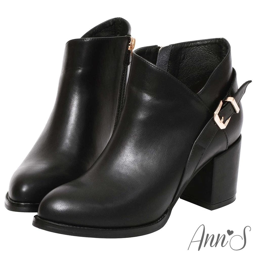 Ann'S激瘦密語-側V後金方釦美型粗跟高跟短靴-黑