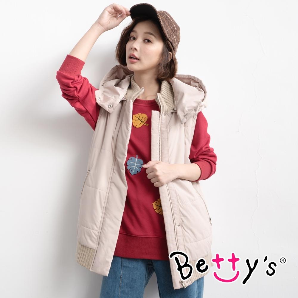 betty's貝蒂思 鋪棉螺紋連帽背心外套(卡色)
