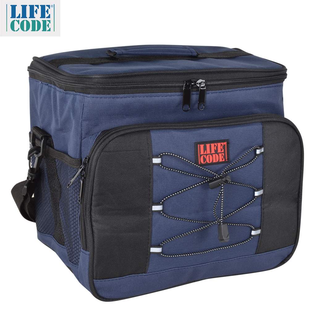 LIFECODE 歐風保溫/保冷袋15L 藏青色/綠色
