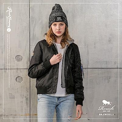Roush 女生MA-1假兩件連帽鋪棉外套(帽不可拆)(3色)