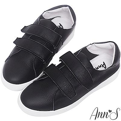 Ann'S第二代超軟真牛皮雙魔鬼氈休閒鞋-黑