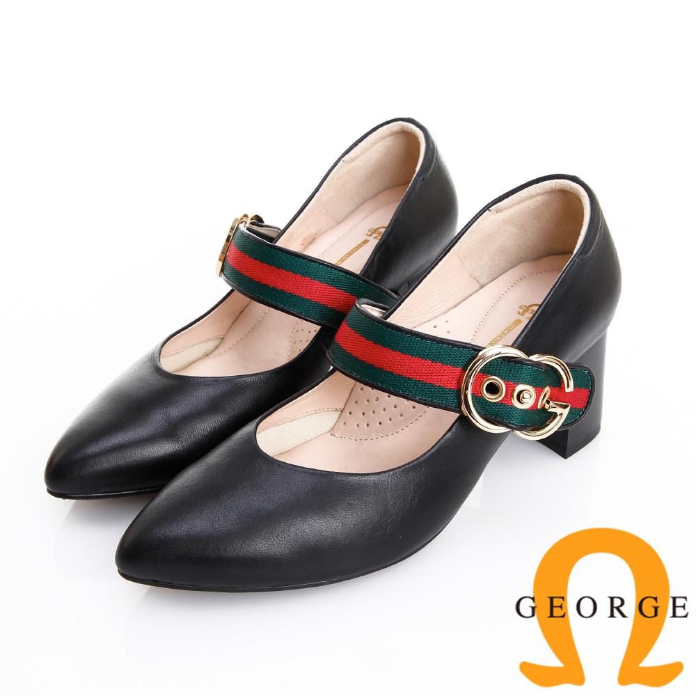 GEORGE 喬治皮鞋 簡約時尚 配色織帶真皮粗跟鞋 -黑色