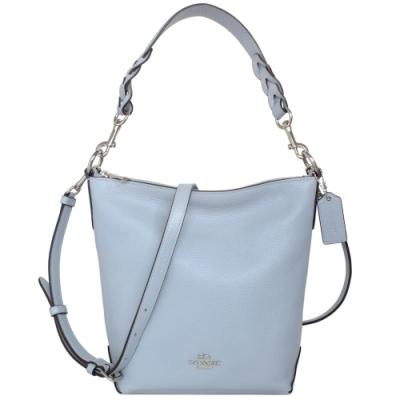 COACH水藍荔枝紋全皮雙背帶小款多way水桶包